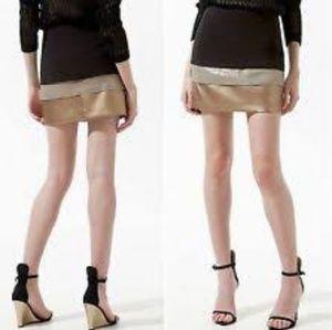 Zara Faux Leather Metallic Gold Mini Skirt